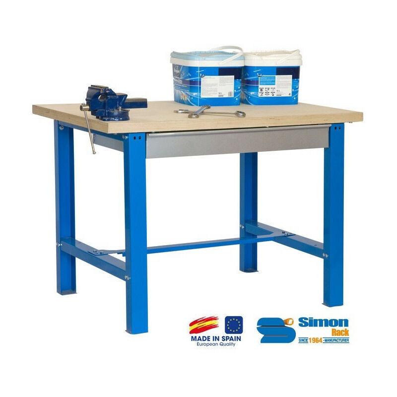 SIMON RACK SimonRack - Kit Etabli avec tiroir 865x1500x750mm Bleu/Bois - BT6-BOX 1500
