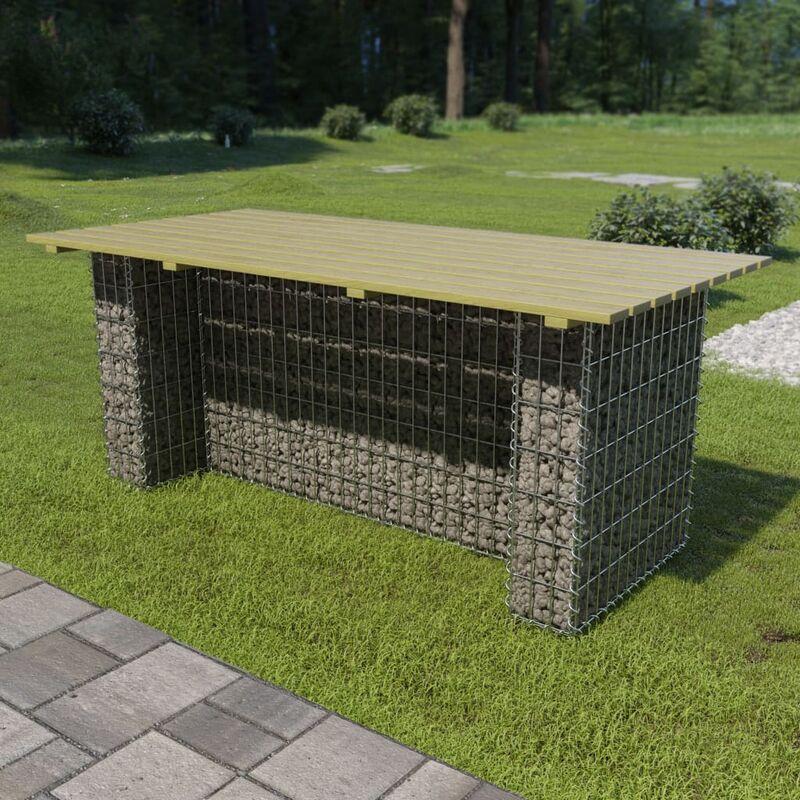 YOUTHUP Table de jardin avec gabion d'acier 180x90x74 cm Bois de pin