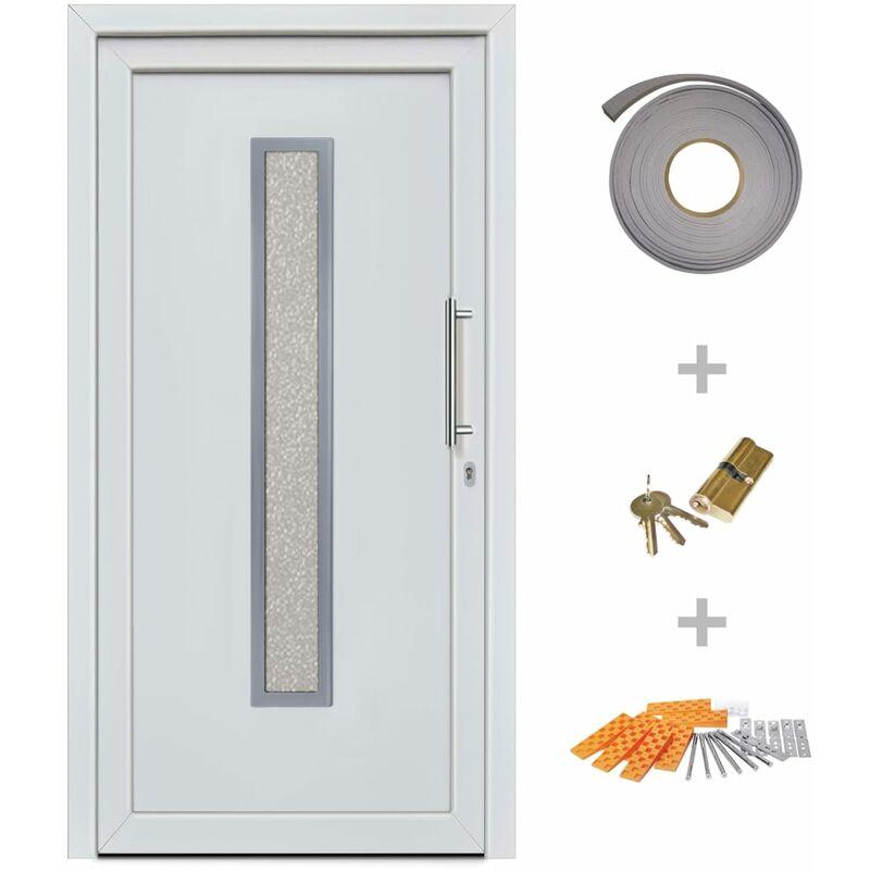 TOPDEAL Porte d'entrée principale Blanc 98x200 cm - Topdeal