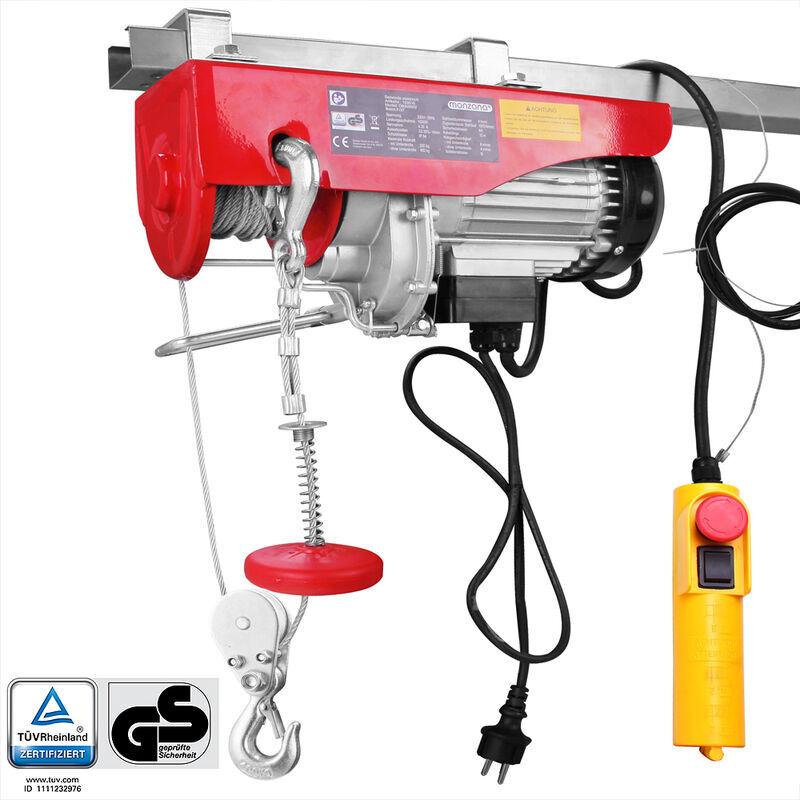 DEUBA Treuil électrique 125 - 800 kg avec câble en acier et boîtier de commande