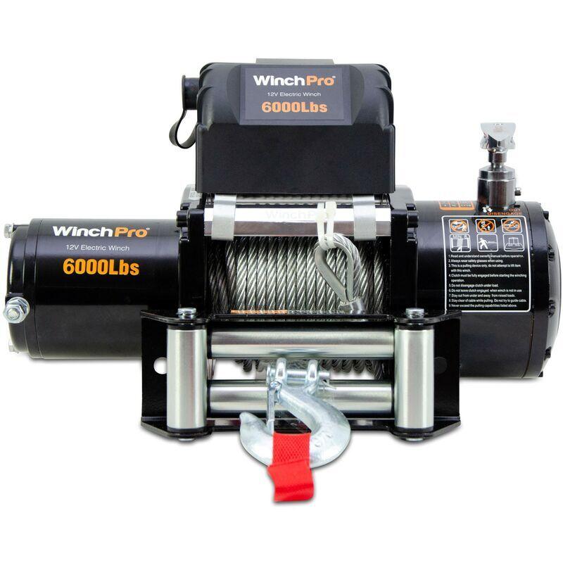 WinchPro - Treuil Électrique 12V 2700kg/6000lbs, Câble D'acier De 24m, 2