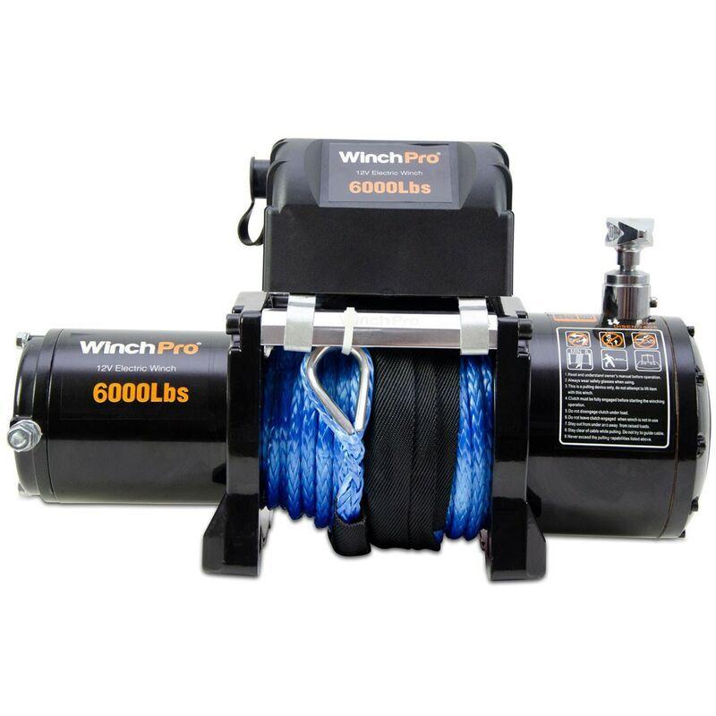 WINCHPRO Treuil Électrique 12V 2700kg/6000lbs, 24m De Corde Synthétique En Dyneema, 2
