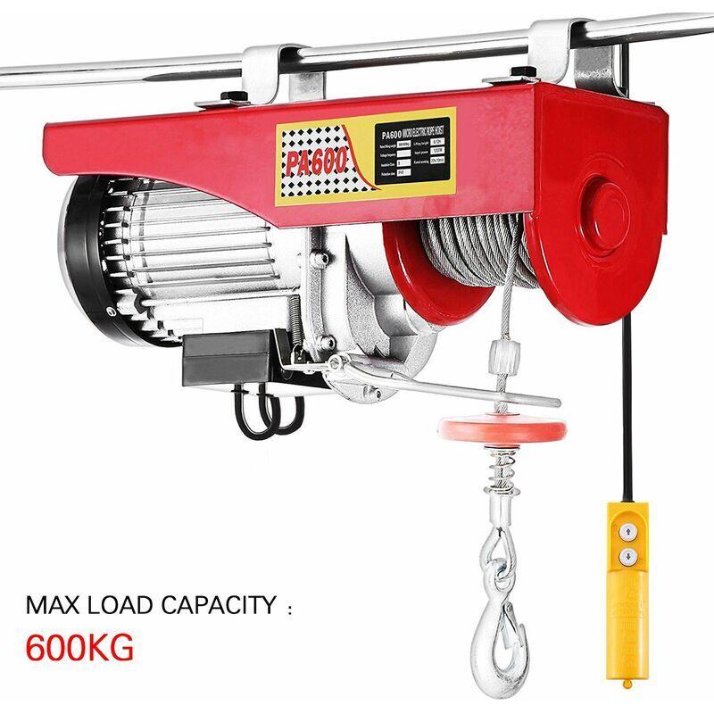 Wyctin - Treuil électrique 300 - 600 kg avec câble en acier et boîtier de