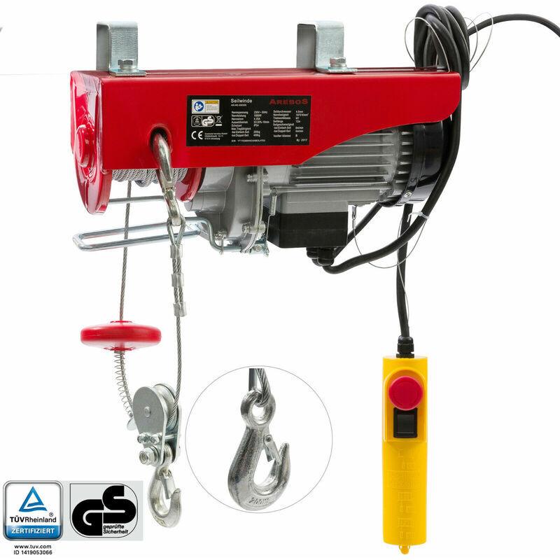 AREBOS Treuil Palan électrique Treuil à câble électrique Potence Pivotante 200/400 kg