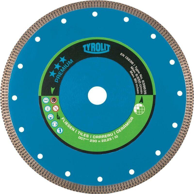 TYROLIT Disque à tronçonner diamant Premium D. 230 mm perçage 20 mm pour carrelages 1,6