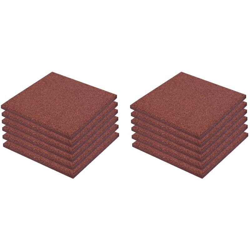 VIDAXL Carreaux de Protection Antichoc 12 pcs Caoutchouc 50x50x3 cm Rouge
