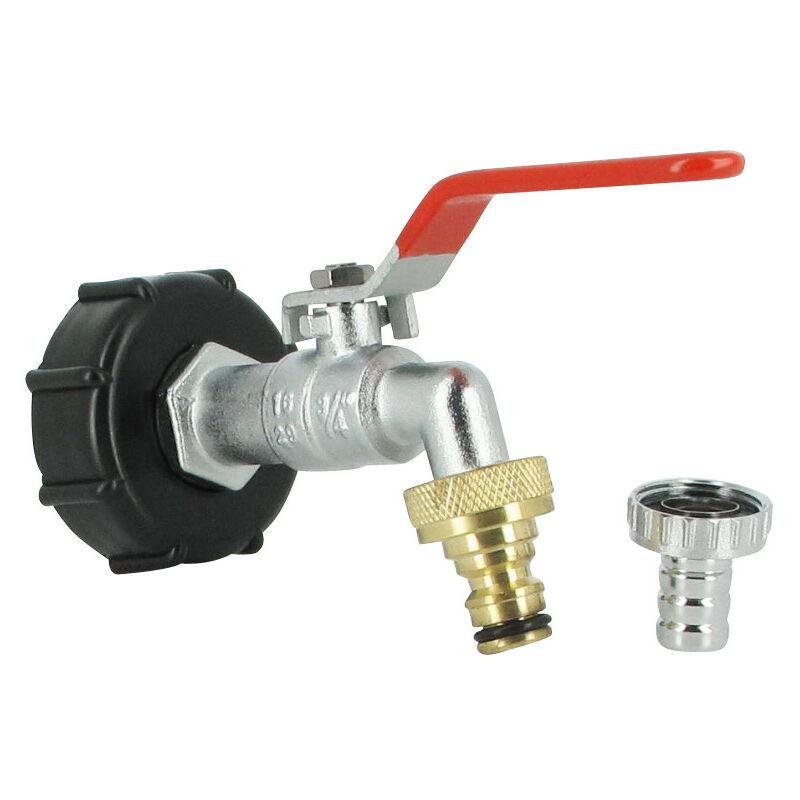 Multicuves - Raccord S60X6 cuve eau - robinet laiton chromé 15 mm + nez de