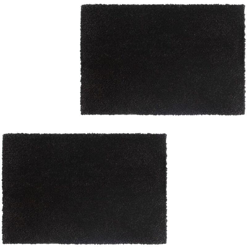 VIDAXL Paillasson 2 pcs Fibre de coco 24 mm 40 x 60 cm Noir