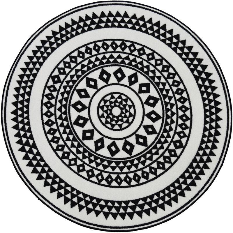 HOMEMAISON Tapis rond et ethnique en noir et blanc Noir 100 x 100 cm - Noir