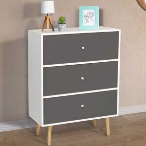 IDMARKET Commode 3 tiroirs EMMIE scandinave bois blanc et gris - Publicité
