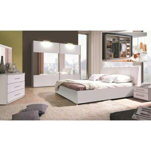 PRICE FACTORY Ensemble blanc brillant lit design en simili cuir et 2 chevets VERONA. Meuble - Publicité