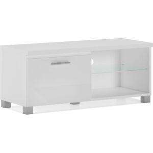 Innovation - Meuble bas TV LED, Blanc mate et Blanc Laqué, Dimensions: 100 x 40 - Publicité
