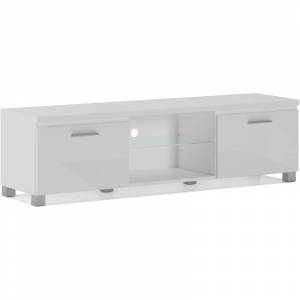 Innovation - Meuble bas TV LED, Séjour, Blanc Mate et Blanc Laqué, 150 x 40 x - Publicité
