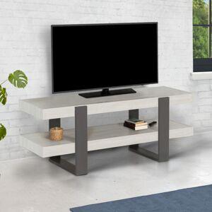 IDMARKET Meuble TV double plateau PHOENIX bois gris - Publicité