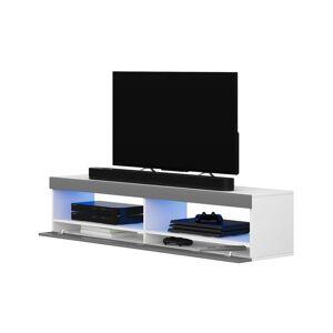 Selsey VIANSOLA - Meuble tv / Meuble de salon (blanc mat / gris brillant, 100 - Publicité