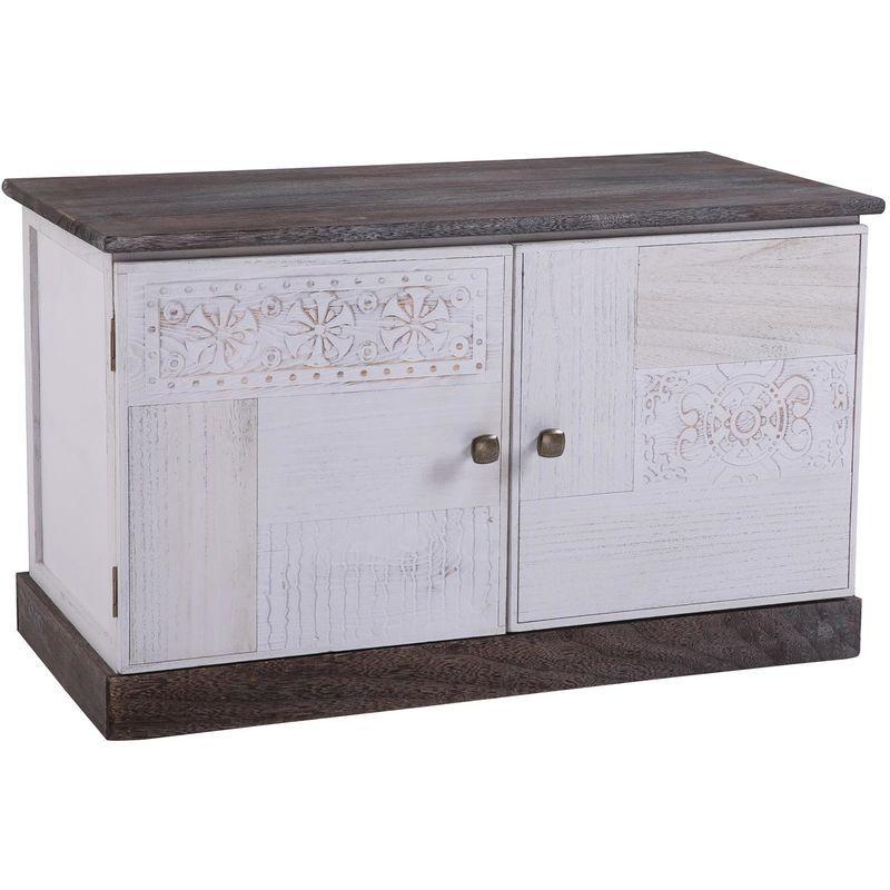 IDIMEX Banc de rangement JUNA meuble à chaussures coffre avec 2 portes, bois de