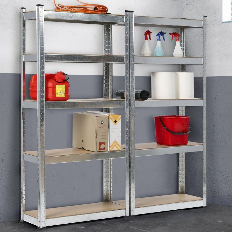 IDMARKET Lot de 2 étagères modulables charges lourdes H. 180 CM 10 plateaux