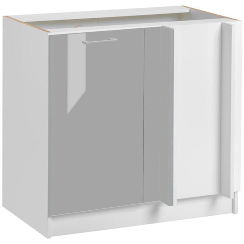 CUISINEANDCIE Meuble d'angle bas - 1 porte, L 105 cm - gris brillant - Gris brillant.