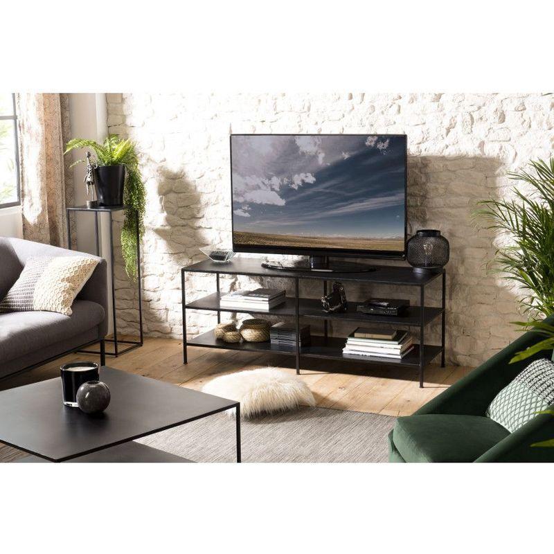 Macabane - Meuble TV 2 étagères métal industriel - Noir