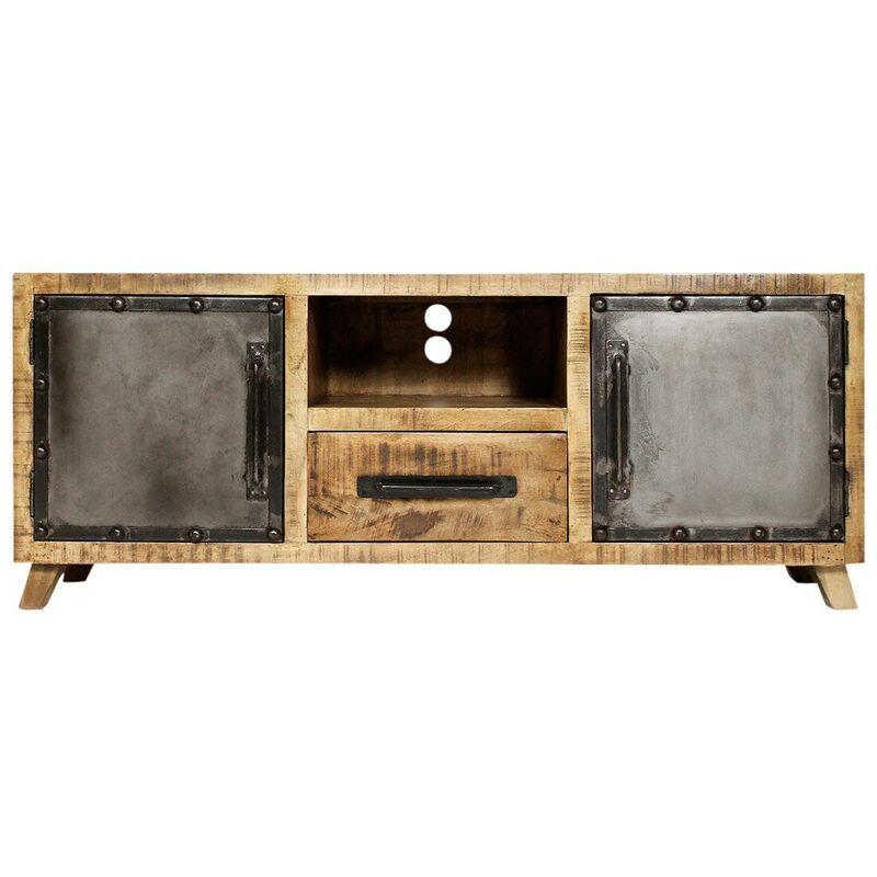 Made In Meubles - Meuble TV industriel, 2 portes 1 tiroir - Bois