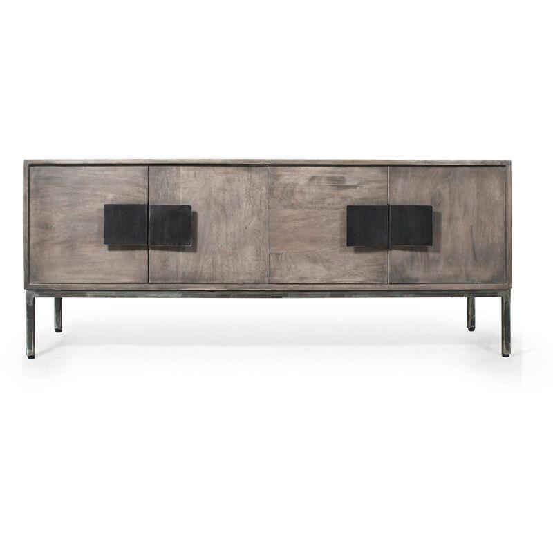 Made In Meubles - Meuble tv industriel gris 4 portes poignée carré métal - Gris