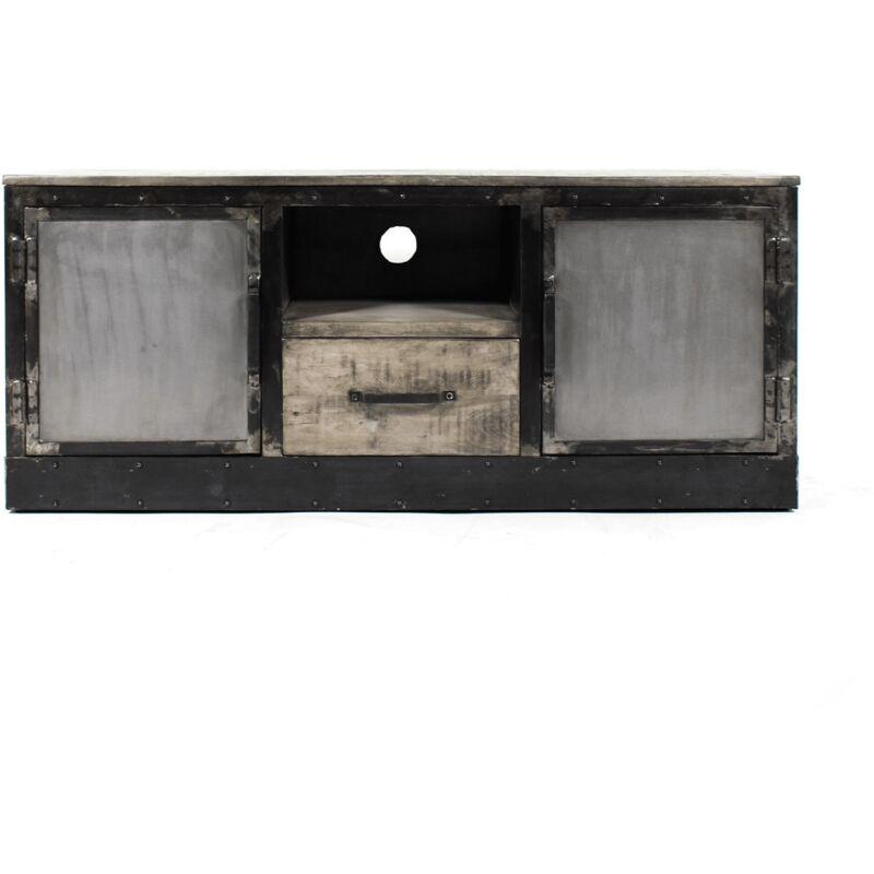 Made In Meubles - Meuble TV industriel patine grise, 2 portes, 1 tiroir, 1