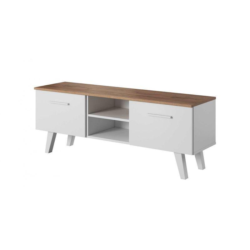 HUCOCO NORDI   Meuble TV style scandinave salon séjour   140x39x52 cm   Meuble de