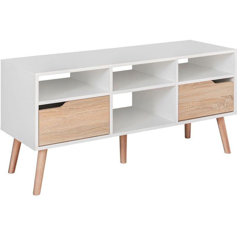 HUCOCO SVEN   Meuble bas TV style scandinave salon séjour   117x58x38 cm   Meuble