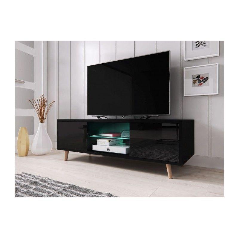 HUCOCO SWEDEN   Meuble TV avec LED style scandinave   140x42x45 cm   Meuble de