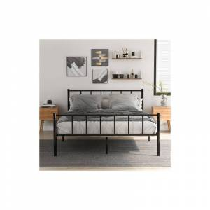LONGZIMING Cadre de lit double en métal solide 4ft6 pour adultes enfants enfants avec tête - Publicité