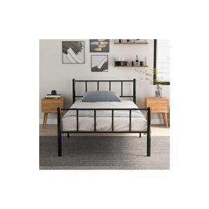 LONGZIMING Cadre de lit simple en métal solide 3 pieds pour adultes enfants enfants avec - Publicité