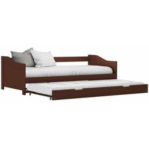 HOMMOO Cadre de lit extensible Marron foncé Bois de pin 90x200 cm HDV24042 - Hommoo - Publicité