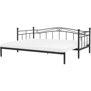 Beliani - Lit extensible en métal noir 80 x 200 cm TULLE - Publicité