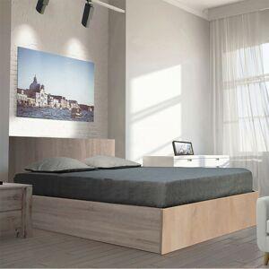 LE QUAI DES AFFAIRES Lit coffre MADRID 160x200 + 1 sommier / Chêne Blanchi/ - Publicité