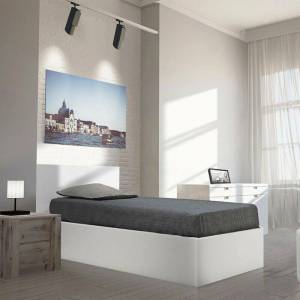 LE QUAI DES AFFAIRES Lit coffre MADRID 90x190 + 1 sommier / Blanc - Publicité