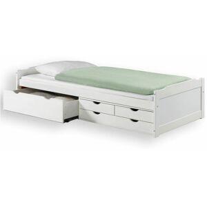 IDIMEX Lit fonctionnel ANDREA en pin massif lasuré blanc 90 x 200 cm, lit pour enfant - Publicité
