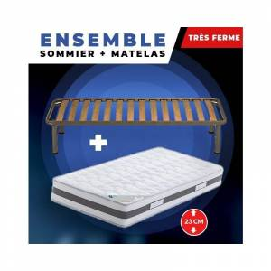 King Of Dreams - Lot de 2 Matelas 90x200 + Sommiers + pieds + Protèges Matelas - Publicité