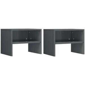 Vidaxl - Tables de Chevet 40x30x30 cm Aggloméré Gris Brillant 2 pcs - Publicité