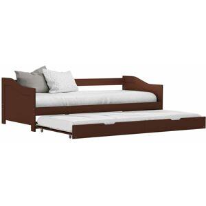 TOPDEAL VDYU24042_FR Cadre de lit extensible Marron foncé Bois de pin 90x200 cm Lit - Publicité