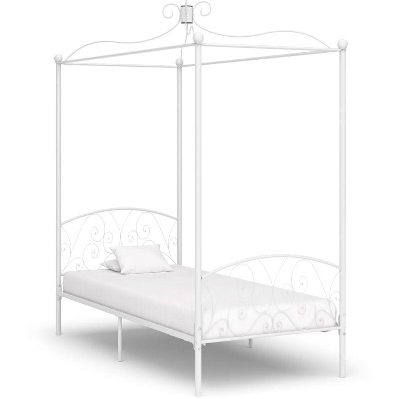 YOUTHUP Cadre de lit à baldaquin Blanc Métal 100 x 200 cm