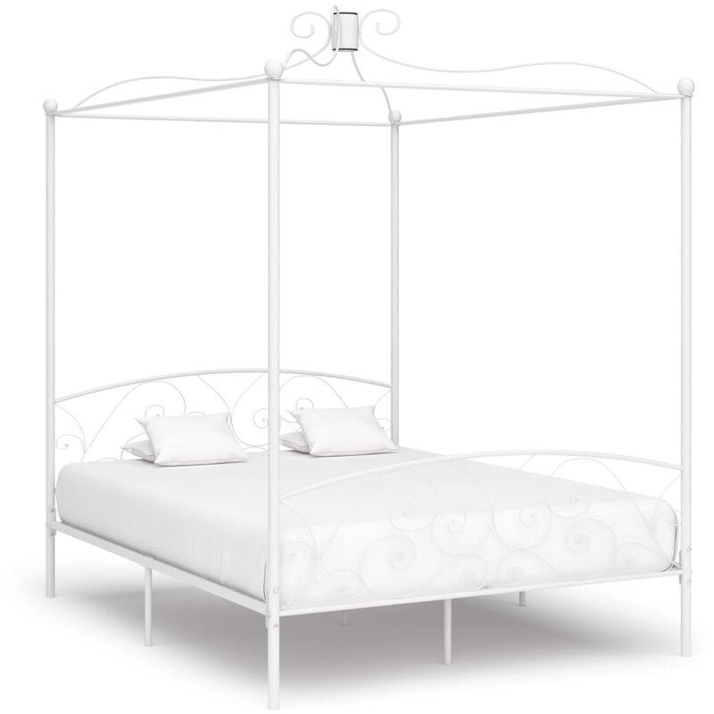 YOUTHUP Cadre de lit à baldaquin Blanc Métal 160 x 200 cm