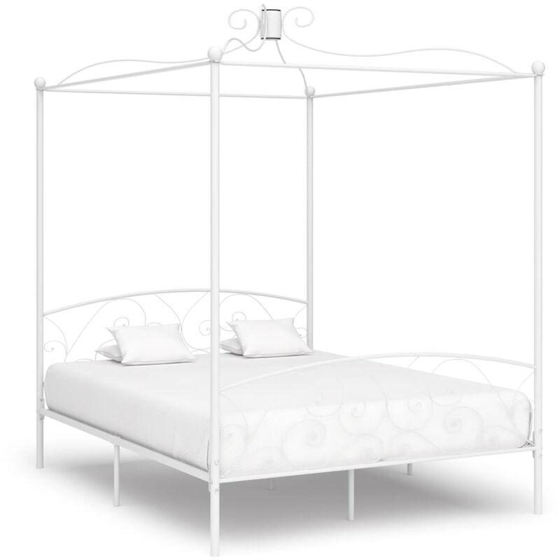 ASUPERMALL Cadre de lit a baldaquin Blanc Metal 180 x 200 cm