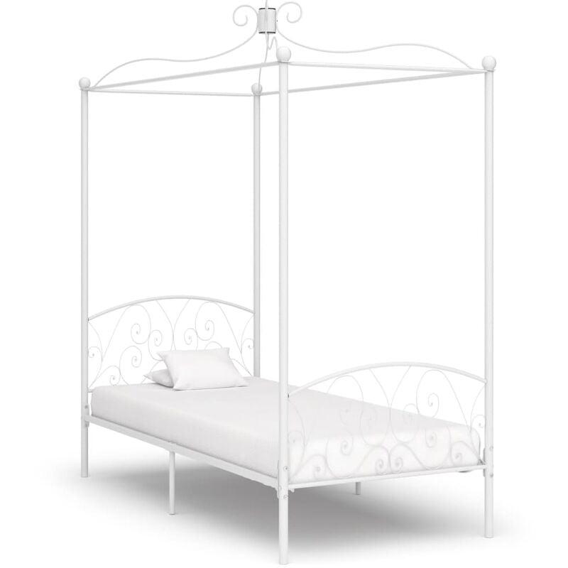 VIDAXL Cadre de Lit à Baldaquin Métal Blanc 100x200 cm