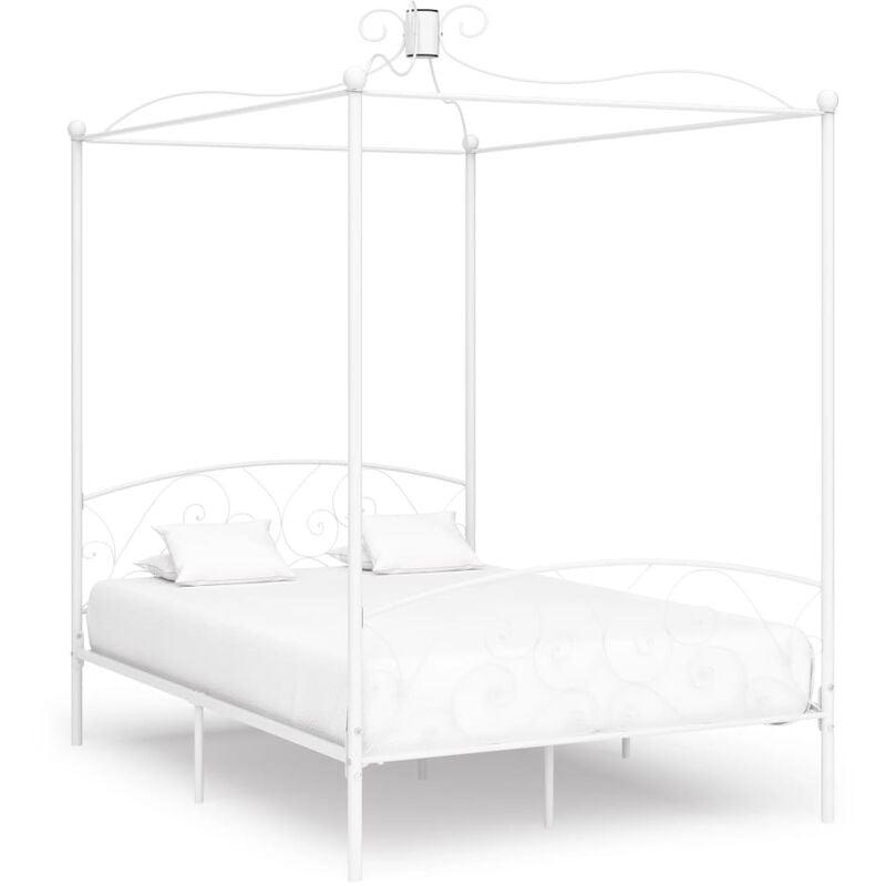 VIDAXL Cadre de Lit à Baldaquin Métal Blanc 120x200 cm