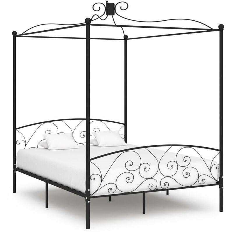 YOUTHUP Cadre de lit à baldaquin Noir Métal 160 x 200 cm