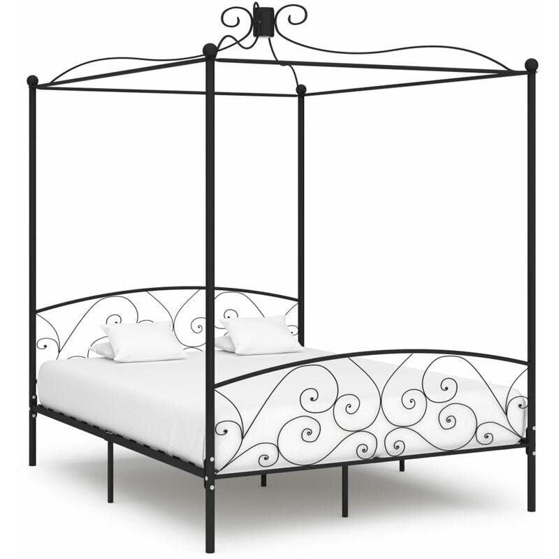 ASUPERMALL Cadre de lit a baldaquin Noir Metal 160 x 200 cm