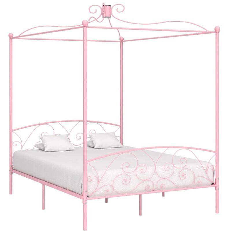 YOUTHUP Cadre de lit à baldaquin Rose Métal 160 x 200 cm