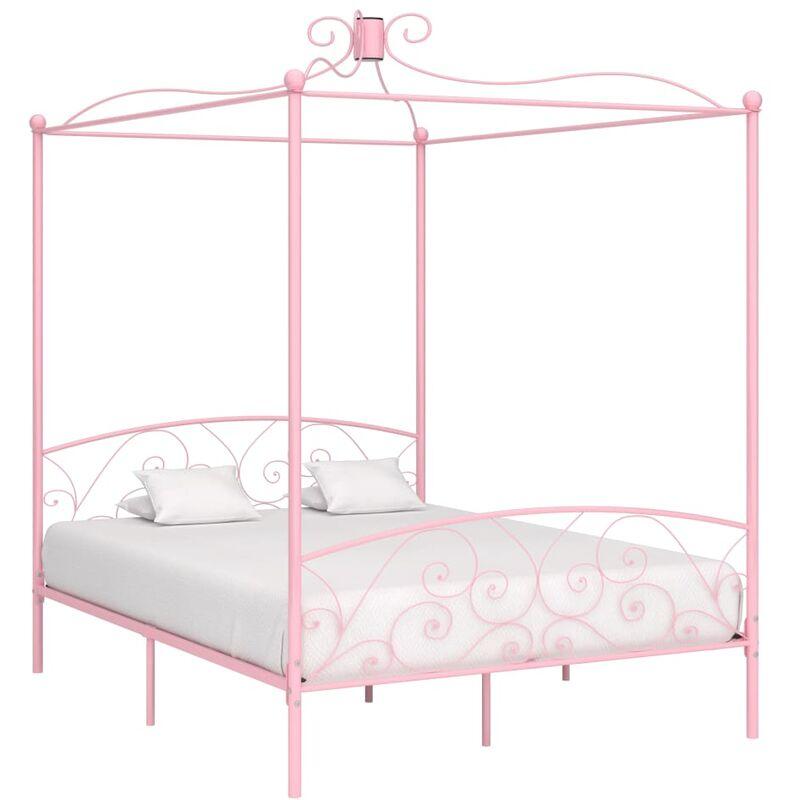 YOUTHUP Cadre de lit à baldaquin Rose Métal 180 x 200 cm