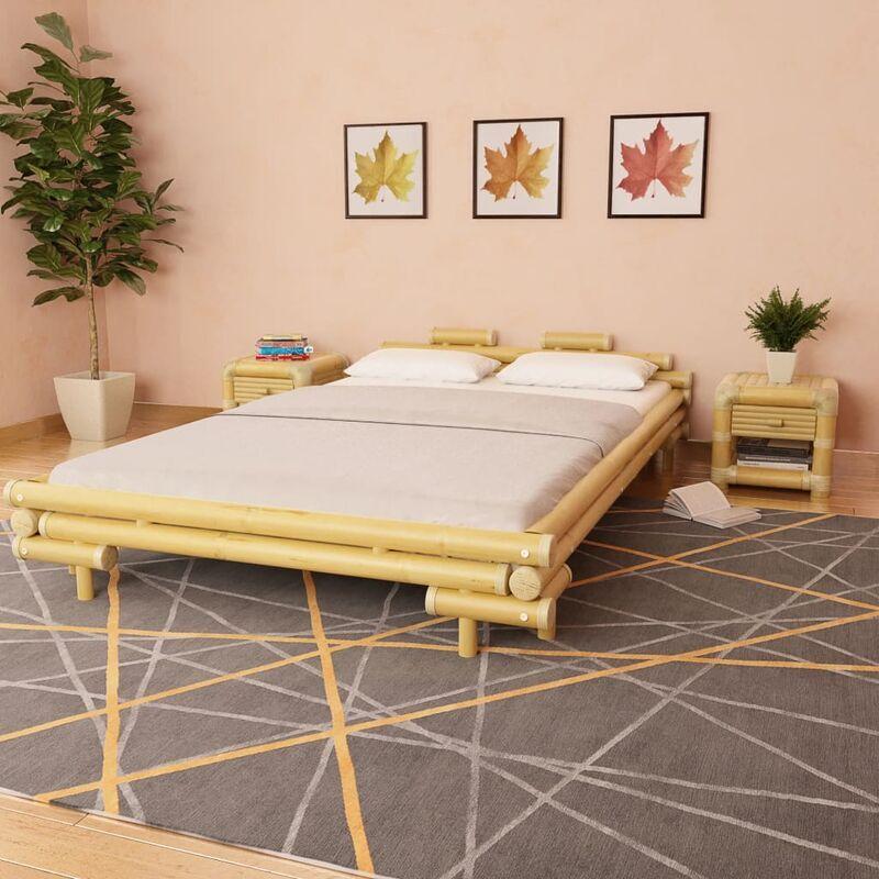 ZQYRLAR Cadre de lit Bambou 140 x 200 cm