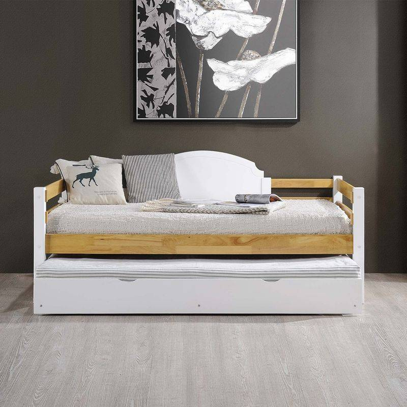 MOBILIER DECO CELESTIN - Lit gigogne banquette en bois blanc 90 x 190 cm